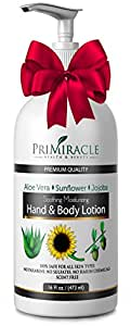 PriMiracle's Best Natural Unscented 16 Ounce Hand and Body Lotion to Moisturize Dry Skin