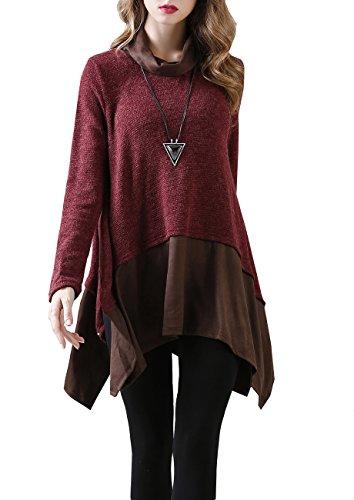 ELLAZHU Women Turtleneck Long Sleeve Splice Slits knit Irregular Hem Mini Dress DY148 ()