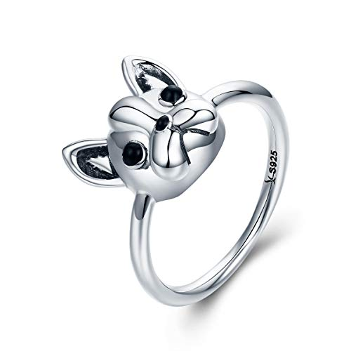 The Kiss Pet Lover French Bulldog Puppy 925 Sterling Silver Ring, Size 8 ()