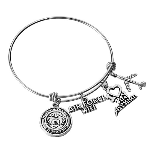 (U.S. United States Air Force Wife Bangle Stainless Steel Expandable Wire Bracelet I Love My Airman Airplane Charm Jewelry Gift for Women)