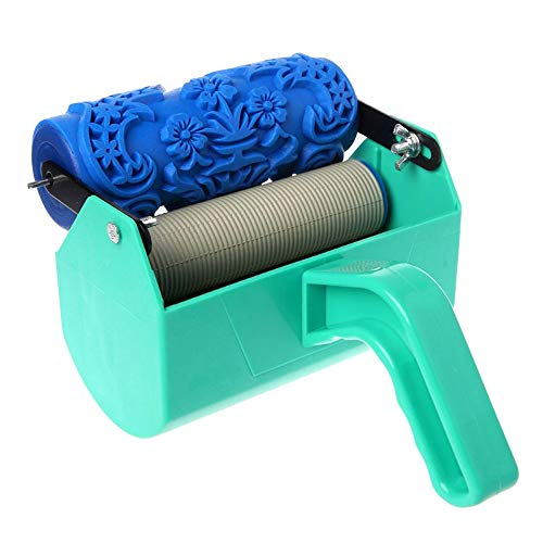 "5"" Patterned Paint Roller Decorative Texture Roller with Single Color Painting Machine 5inch Embossed Plastic Handle for Wall Decoration"