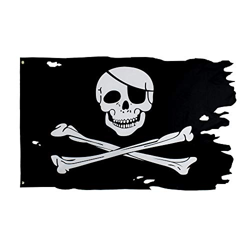 (FLAGLINK 3x4.8 Foot Creepy Ragged Crossbone Old Skull Bones Pirate Jolly Roger Flag)