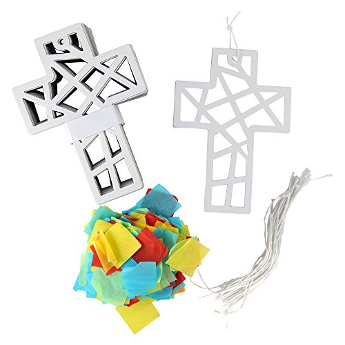 Kipp Brothers DIY Suncatcher Cross Craft with Tissue Paper and String - Pack of 24