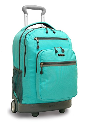 "J World SUNDANCE II 20"" Double Handle Laptop Rolling Backpack in Seafoam"