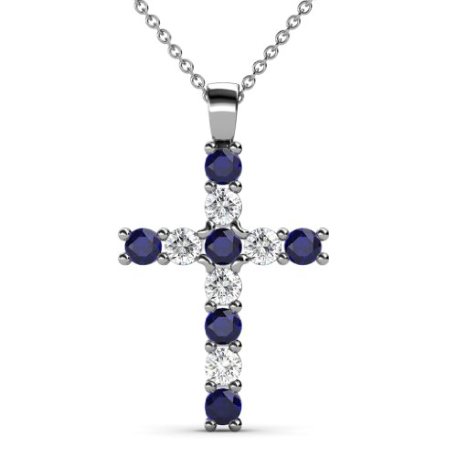 TriJewels Blue Sapphire and Diamond Cross Pendant 0.77 ctw 14K White Gold with 18 Inches Gold Chain