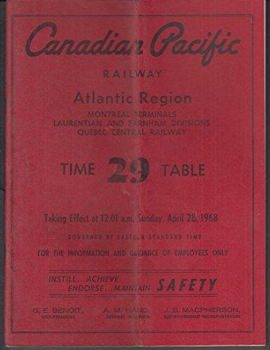Canadian Pacific Railway employee timetable #29 4/28 1968 Atlantic Region