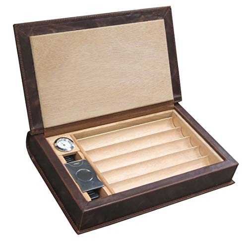 Prestige Import Group - The Novelist Leather Book Travel Cigar Humidor - Color: Brown