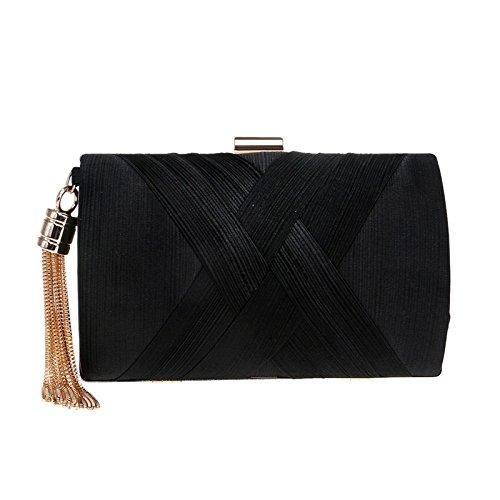 Delicado bolso de noche con flecos de las mujeres vestido de seda embrague de la tarde dama de honor nupcial boda embrague bolsa de hombro bolso cruz Black