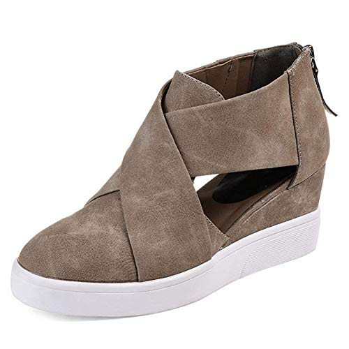 DecoStain Women's Concise Criss-Cross Cut-Out Wedge Sneakers Comfortable Back Zipper Shoes