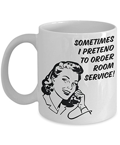Nostalgic Coffee Mug - Order Room Service - 1950s Housewife - Sassy Mug - Funny Vintage Kitchenware - Retro Gag Gift for Women
