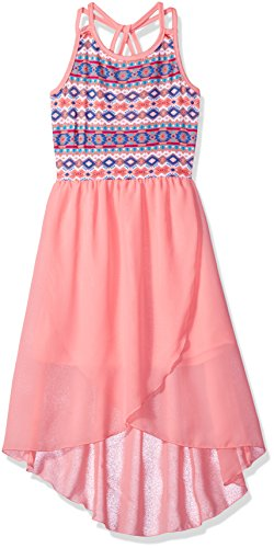 Dream Star Big Girls' Printed Jersey Twist Back and Chiffon Hi/Low Dress, Coral, M/ 10-12 (Party Girl Clothes)