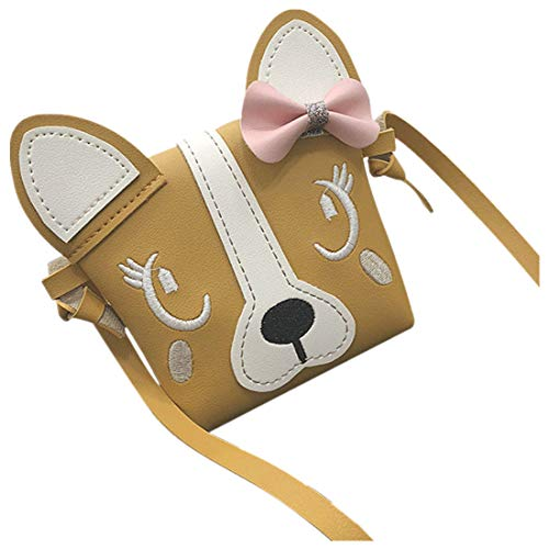 vermers Mini Crossbody Bags for Girl Cute Animal Bowknot Leather Handbag Shoulder Bag(Yellow)