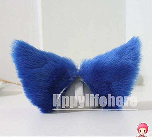 Hot Sweet Lovely Anime Lolita Cosplay Fancy Neko Cat Ears Hair Clip Royal Blue with Pink Inside - Blue Cat Ears