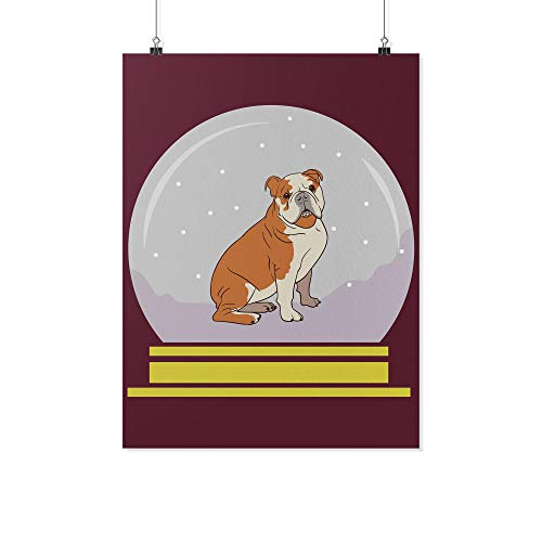 Weezag Snow Globe Bulldog Printed Wall Poster, Funny Gifts for Dog Lovers, 18