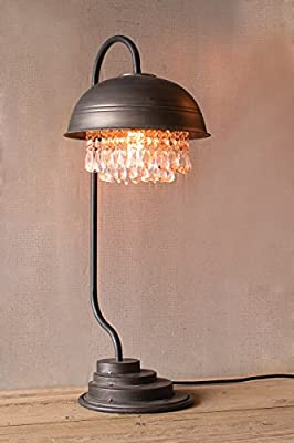 Kalalou Cll1232 Metal Dome Table Lamp - With Gems Detail