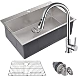 MOWA HTS3322 Pro Series Handmade 33' 16 Gauge Stainless Steel Topmount Drop-in Single Bowl Kitchen Sink & Pull-Down Faucet Combo, Commercial Deep Sink + Spring Faucet, w/Basket Strainer & Sink Grid