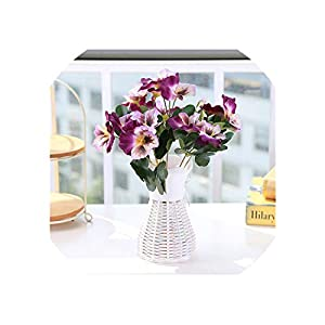 Artificial Flowers 1X Bouquet Artificial Simulation Silk Flower Pansy Artificial Plant Wedding Party Home Hotel Table Decoration,Double Purple 17