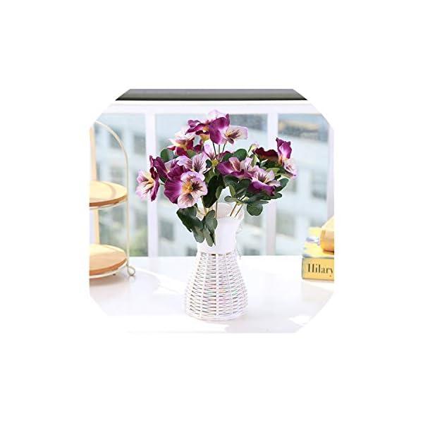 Artificial Flowers 1X Bouquet Artificial Simulation Silk Flower Pansy Artificial Plant Wedding Party Home Hotel Table Decoration,Double Purple