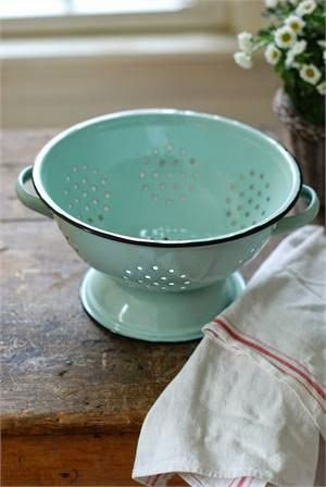 Magnolia Farms Kitchen Vintage Style Enamelware Colander by Park Hill