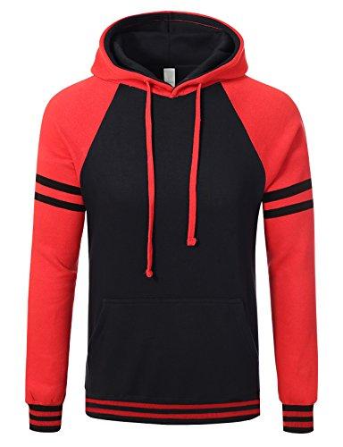 (JD Apparel Mens Stripe Two-Tone Pullover Hoodies 2XL Black Red)