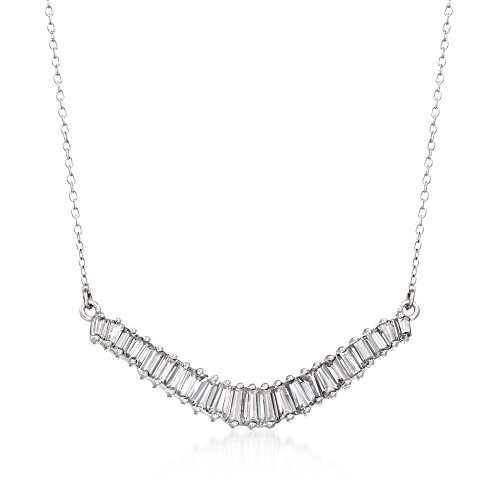 Ross-Simons 1.58 ct. t.w. Baguette CZ Curved Bar Necklace in Sterling ()