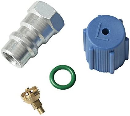 Universal Retrofit Valve & Blue Dust Cap Fit 7/16 Low Side Port -for All Motors Converting from R-12 to R-134A