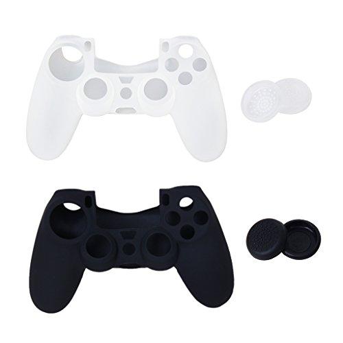 Joystick Thumbstick Mütze Kappen und Silikon Schutzhülle für PlayStation 4 PS4 Steuerung Schwarz und Weiß