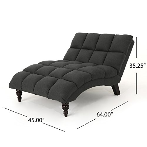 Christopher Knight Home 304715 Kaniel Traditional Tufted Fabric Double Chaise, Dark Grey/Dark Espresso