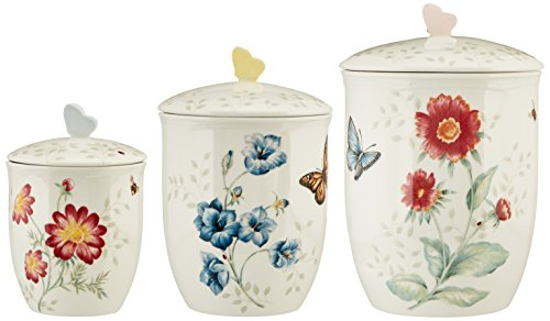 Lenox 813478 3 Piece Butterfly Meadow Canister Set, White (Canister Collection Set)