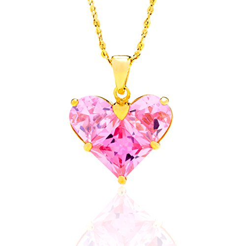 Lifetime Jewelry Heart Necklace of Pink Cubic Zirconia, Made of 24K Gold Over Semi-Precious Metals, Makes a Gift For Women or Girls, Comes in a Box or Pouch on 18 Inch Chain, Guaranteed for Life