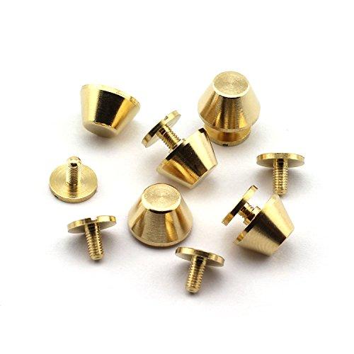 "LQ Industrial 25-Pack 1/2"" Purse Handbag Feet Nailhead Flat Stud Solid Brass Screw-Back Spike Metal Cone Studs Rivet Leather Craft DIY"