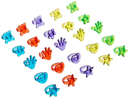 Rhode Island Novelty 144 Plastic Glitter Rings (Assorted Colors and Designs) ()