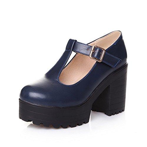 Alto Luccichio Tonda Donna Punta Tirare VogueZone009 Flats Tacco Ballet Azzurro 5HOqY4nwx