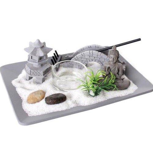 BUDDHA ZEN HOUSE GARDEN RELAX SPIRITUAL PEBBLES TEA LIGHT CANDLE SAND PLATE NEW SIL