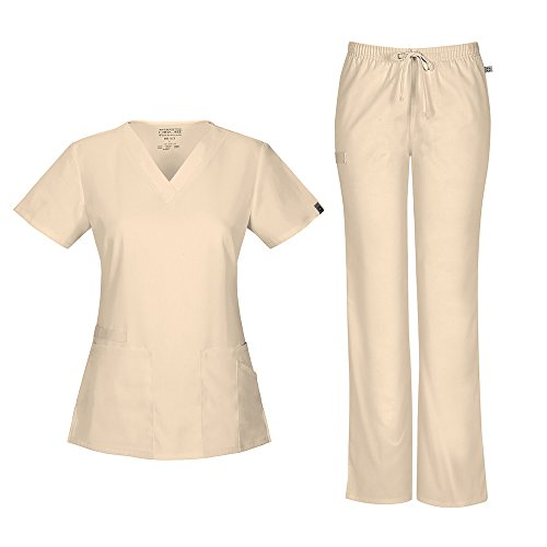 Cherokee Women's Workwear Flex with Certainty V-Neck Top 44700A & Mid Rise Moderate Flare Drawstring Pant 44101A Scrub Set (Antimicrobial) (Khaki - X-Small/XSmall Petite) (Cherokee Scrub Shirt Flex)