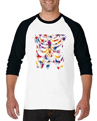 Blue Tees Skeleton For Happy Colorful Halloween Fashion Party People Costume Couples Gifts Unisex Raglan Baseball T-Shirt Medium White Black -