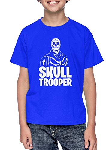 Trooper Base - Skull Trooper - Video Game Just Build Youth T-Shirt (Royal Blue, X-Small)