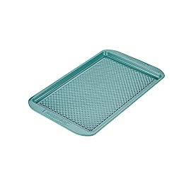 "Farberware Purecook Hybrid Ceramic Nonstick Bakeware Baking Sheet and Cookie Pan, 10"" x 15"", Aqua 31 Featured in aqua 11"" x 17"" Rolled edges"