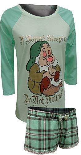 Disney Women's Snow White Sleepy Ls Shorty Set, Mint XL