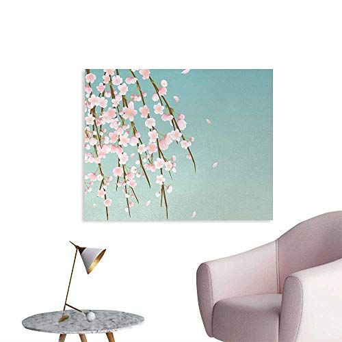 - Tudouhoho Weeping Flower Wall Poster Freshly Blooming Cherry Blossom Branches with Flower Buds Wallpaper Pale Pink Baby Blue and Taupe W32 xL24