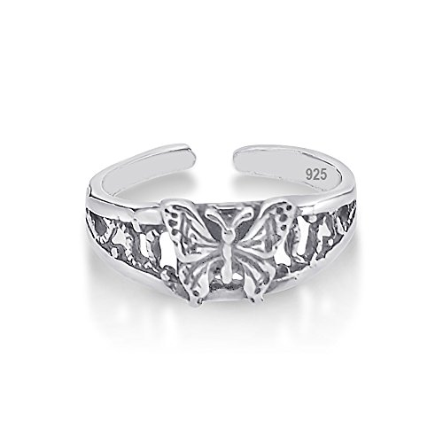 Tr-104 925 Sterling Silver Toe Ring Collection, One Size Fits All, Flexible and Hypoallergenic Butter Fly (104 Matt)