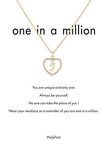 HolyFast Charm Necklace Message Card One in A Million Letter J Necklace Initial Necklace Heart Love Necklace CZ Cubic Zirconia Pendant Love Necklace Woman Jewelry
