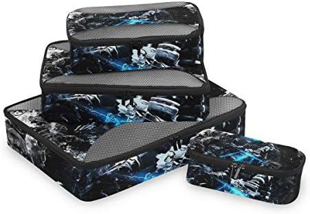 ライトヒーロー荷物パッキングキューブオーガナイザートイレタリーランドリーストレージバッグポーチパックキューブ4さまざまなサイズセットトラベルキッズレディース