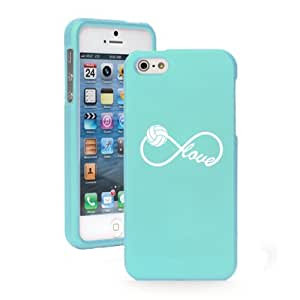 Apple iPhone 5c CH214 Light Blue Rubber Hard Case Snap on 2 Piece Infinity Infinite Love for Volleyball