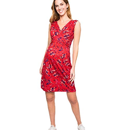 (Forthery Women's Summer Floral Printed Sleeveless Nursing Clothes V-Neck Maternity Pregnanty Midi Dress(Red,S=US 4))