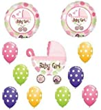 IT'S A GIRL Carriage POLKA DOT Baby SHOWER Balloons SET