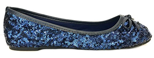 Navy 6 4 Ballet Colors 2001 Flats Shoes Available Ballerina Womens 5 New Sequins Sequins xBP116