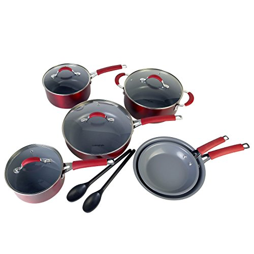 Cooking Light - Allure 12 Piece Ceramic Non-Stick Cookware Set - Red