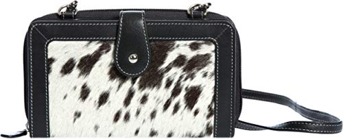 Cowhide Wallet - Odessa Cowhide Crossbody Clutch Wallet with RFID Protection