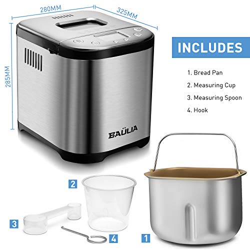 Baulia BM822 Automatic Bread Maker Machine, Gluten/Sugar-Free Functions 15 Programmable Bread Types Settings by Baulia (Image #6)